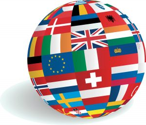 Globe of European country flags